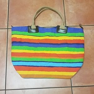 Large striped beach bag tote